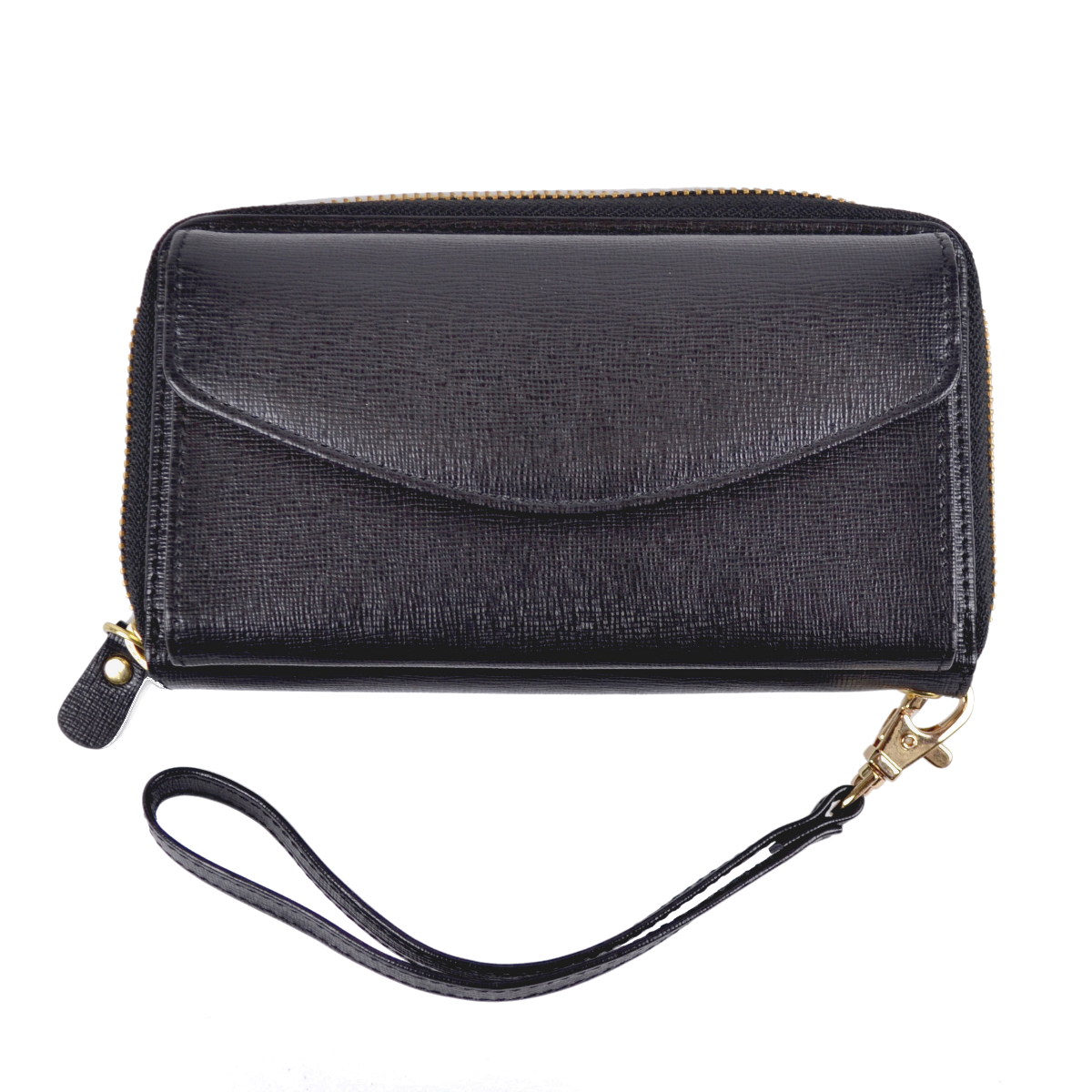 huge selection of 9f02a 433a1 Slim Zippered Credit Card iPhone Wristlet Wallet in Genuine Saffiano Leather